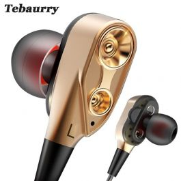 Earphone Double Unit Drive with Bass Subwoofer HD Mic for phone DJ mp3 Sport