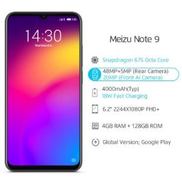 Meizu Note 9 Smartphone 6.2'' Waterdrop Global Version 4GB/128GB Snapdragon 675 Octa Core 48MP Dual Camera AI Front 20MP 4000mAh B20