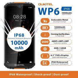 OUKITEL WP6 Rugged IP68 Waterproof Smartphone 6GB 128GB 9V/2A 10000mAh 48MP Triple Camera
