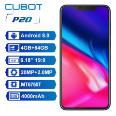 Cubot P20 4G Smartphone Notch Screen 4GB 64GB Octa-Core 4000mAh Dual Rear Camera 20MP+2.0MP