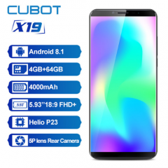 Cubot X19 5.93'' Smartphone 4GB/64GB 18:9 FHD+ Dual Camera 16.0MP 4000mAh Face ID