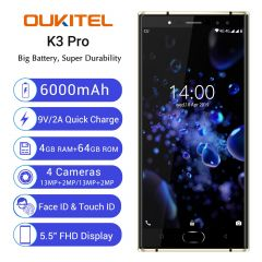 Oukitel K3 Pro Global Version 5.5 inch FHD Android 9.0 6000mAh Face Unlock 4GB RAM 64GB