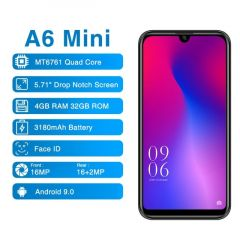 Elephone A6 Mini 4G LTE Smartphone 5.71'' 4GB RAM 32GB/64GB Storage Android 9.0 Water drop Screen 16MP Camera