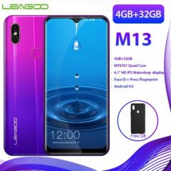 "LEAGOO M13 Dual Sim 4G Smartphone 6.1"" Waterdrop 4GB/32GB Android 9.0 Quad Core Fingerprint Face ID"