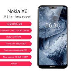 Nokia X6 Dual Sim Octa Core Smartphone 5.8 inch 4GB/6GB RAM 64GB ROM Rear Dual Camera Fingerprint ID