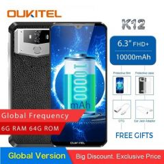 OUKITEL K12 Smartphone 6.3'' Waterdrop 6GB 64GB Android 9.0 10000mAh 5V/6A Quick Charge OTG NFC