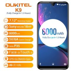 OUKITEL K9 4G Smartphone Global Version 7.12 inch FHD+ Waterdrop Display 6000mAh 4GB RAM 64GB ROM Helio P35 Octa Core 2.3GHz