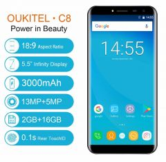 Oukitel C8 5.5 Inch Dual Sim Quad Core Fingerprint Smartphone 2GB/16GB Android 7.0