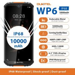 OUKITEL WP6 Rugged IP68 Waterproof Smartphone 6GB 128GB 9V/2A 10000mAh 48MP Triple Camera
